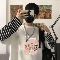 Erkek T-Shirt Harajuku Anime Haikyuu Sugawara Koushi Kawaii Baskı T Gömlek Komik Karikatür Grafik Kadın Kore Moda Şerit Uzun Kollu TSH