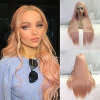 Long Straight Pink Wig Heat Resistant Summer Offer Synthetic Lace Front Free-Part 13*4 Cosplay Wigs For Black Women EEWIGS