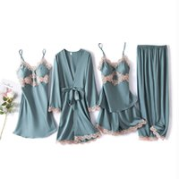 Robes Sleepwear Sets For Woman Summer Ladies Sexy Satin Silk Pajamas Five-piece Sling Nightgown Sleep Tops Bottoms Pants Pink Red Home Clothe Nightwear