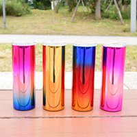 20oz Skinny Straight Electroplate Tumblers 4 Color Stainless Steel Water Bottles Glossy Double Insulated Cups Glasses Mugs By Air A12