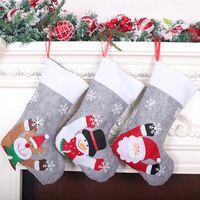 Weihnachtsdekoration Spielzeug LED leuchten Schneemann Santa Elch Bär Druck Weihnachten Süßigkeiten Geschenk Tasche Strümpfe Socken Kaminbaum Neue