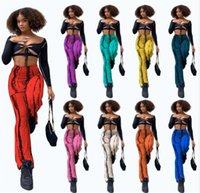 wholesale flare pants two piece set tracksuits outfits sexy crop top trousers sportswear sweatsuit pullover legging suits klw7401