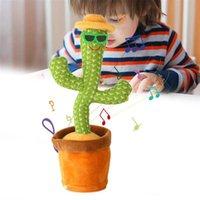 Favor do Natal dançando falando cacto cacto pelúcia brinquedo de pelúcia eletrônico com música vaso de educação precoce brinquedo para crianças