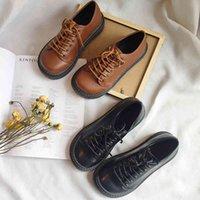 Dress Shoes Sapatos de couro femininos, calçado harajuku com cadarço, estilo coreano, para estudantes, sapatos baixos, casuais e pequenos, novo, TLT3