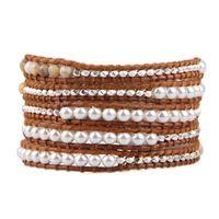 Tennis KELITCH Pearls Beads Natural Stone Woven Bracelets Trendy Casual Handmade 5 Wrap Pulsera Adjustable Boho Jewelry Mujer