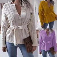 Women's Knits & Tees 2021 Korean Version Of The Twist Buttoned Waist Knitted Cardigan Sweater Thick Short Jacket With Belt