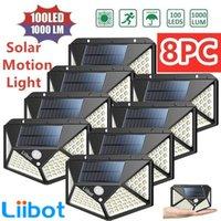 LIBOT 102 100 LED światło słoneczne Lampa zewnętrzna Zasilany światłem słonecznym 3 tryby PIR Czujnik ruchu do dekoracji ogrodowej Wall Street