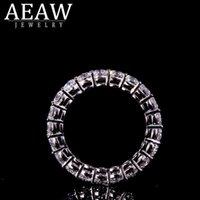 AEAW Solid silver 925 Luxury 3mm 0.1ct tatol 2ctw-3ctw Engagement Ring Wedding Moissanite Full Enternity Diamond Band For Women