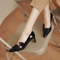2021 Women dress shoes Fashion Metal rhinestone bow decoration Woman's High heel Comfortable Ladies party sabot size 34-39