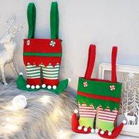 زينة عيد الميلاد قزم السراويل الحلوى حقيبة هدايا مع تنورة خضراء والأوراق المالية مخططة صغيرة للطفل للحزب سو