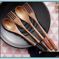 Spoons Flatware Kitchen, Dining Bar Home & Gardenspoons 2Pcs Wooden Spoon Salad Fork Set Wood Kitchen Utensils Long Handle Soup Tableware Di