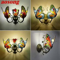 Wall Lamp AOSONG Tiffany Lights Sconces Modern LED Butterfly Lamps Indoor Fixture For Home Decoration