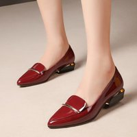 Dress Shoes Women Cute Sweet Black Cow Patent Leather Square Heel For Office Ladies Classic Pointed Toe & Party Pumps