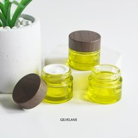 10g MIni Clear Green Glass Jars Face Cream Bottles with Brown Wooden Plastic Caps Empty Containers Round DIY Makeup Packaging Skin Care
