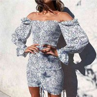 Trendy Square Neck Floral Print Dress Women Long Sleeve Body...