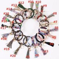Pelle involucro nappe nappe braccialetti portachiavi forniture per feste Braccialetto per orologio da polso con tassel portachiavi rotondo braccialetto portachiavi hwe6374