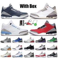 Nike Air Jordan 3 Retro 3 3s 2021 أحذية كرة السلة للرجال مع صندوق جورج تاون كحلي منتصف الليل UNC ليزر برتقالي أحمر أسود أسمنت JTH NRG كاترينا أحذية رياضية للتدريب