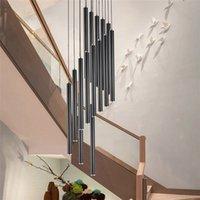 Nordic Long Tube Pendant Lamps Hanging Kitchen Light White Black Golden Length Adjustable Home Dining Room Lighting Lights