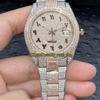 Eternity Jewelry Relógios V3 Atualização Versão 126331 126334 116244 Árabe Diamantes Discar ETA A2824 Mens Automático Assista Gelado Full Diamante Rose Gold Case 904L Pulseira
