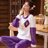 여성용 잠옷 캐주얼 겨울 만화 잠옷 세트 플란넬 소프트 전체 슬리브 셔츠 팬츠 엄마 홈웨어 큰 크기 Kpacotakowka 3IIG