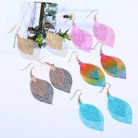 Wome Charm fashion leaf Tassel Earrings simple retro color metal Leafs Earring 9118