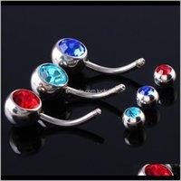 Sobrancelha Lote 1Piece 316L Aço Cirúrgico Duplo CZ Botão Botão Anéis Colorido Gem Navel Bar Piercing Moda Jóias Charming 14g 7ucvr DKOAJ