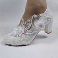 Przyjazd Kobiety Buty Ślubne Druhna Dress Grube Heeled Med Heel Buty Biały Koronki Kwiat Kobiet 210610