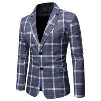 Passt Herren Blazer Business Plaid Stil Casual Mantel Mode Slim Anzug