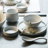 Platos Placas Kinglang Japonés Cerámica Occidental Placa de comida Placa Hogar Cuenco Arroz Pequeño Cuchara Salsa Plato Pasta Fideos