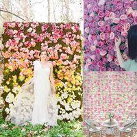 Atacado 60x40cm Flor Wall Seda Rosa CRYPTERAÇÃO DE PAREDE Criptografia Floral Flores Artificial Flores Creative Wedding Stage