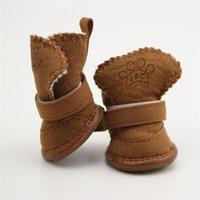 4 pçs / set de algodão antiderrapante impermeável aquecido sapatos de inverno quente peluche pet de espessura botas de neve suave para cão pequeno 26 s2 6cbf