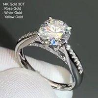 Kluster ringar 14k vitguld 3 moissanit diamantring kvinnor rundkrona klassisk bröllopsfest förlovnings årsdag ct d färg