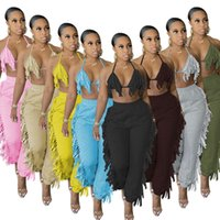 Women fashion tassel Two Piece Pants suits solid color sexy fringe sling halter bra loose casual trousers 2 pieces set streetwear nightclub plus size clothing