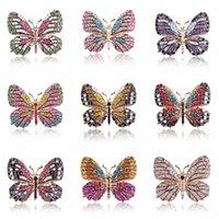 Große Kristallrhinestone Schmetterlingsbroschen für Frauen Frühling Insekt Brosche Pin Mantel Mode Banquet Hochzeit Brosche Geschenke
