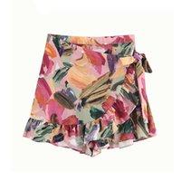 Women's Shorts High Waist Vintage Stylish Floral Print Ruffles Women Skirts 2021 Fashion Side Bow Tie Sashes Zipper Skort Pantalones