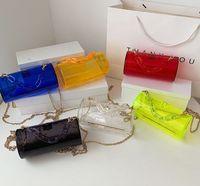 الأطفال حقيبة يد المرأة حقائب اسطوانة مربع أكياس صغيرة الإناث الصيف أكريليك سلسلة شفافة شاذة حقيبة
