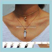Подвески Jewelry Drop Доставка 2021 Мода Луна Гексагональная Призма Двухслойный Ожерелья натуральный Камень Choker Crystal Подвеска Ожерелье для Wom