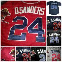 24 Deion Sanders Dupla Patch Baseball Jersey Altanta 1995 Wrold Série Estrelas personalizadas Tudo costurado preto vermelho branco cinza