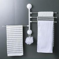Punching-free 360 Rotating Towel Rack Bath Rail Hanger Holder 4 Swivel Bars Bathroom Wall Mounted Household Rod Shower Curtains