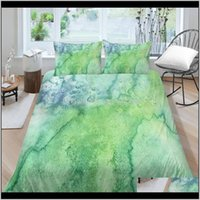 Sets Artistic Bed Green Texture Print Fashion 3D Duvet Cover Single Double Twin Full King Queen Bedding Set Marble Pattern 8Hiwp Yqogu