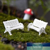 White Bench Micro Landscape 2Pcs Cute Mini Fairy Doll Chairs Terrarium Moss Decor Figurines Garden Miniatures Micro Landscape