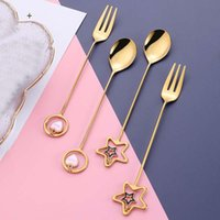 Spoons 304 Stainless Steel Gold Silver Coffee Spoon Ice Cream Tea Dessert Fork With Pretty Pendant Tableware