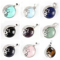 Natural Semi Precious Stone Pendant hollow out back round moon star female Necklace