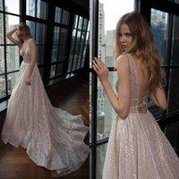 Fabulous 2019 Berta Wedding Dresses Sexy Plunging V-neck Backless Shiny Glitters Fabric Long Bridal Gowns Custom Made China EN421