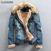 Classdim Erkekler Kalın Sıcak Denim Mont Erkekler Rahat Jean Ceketler Kış Sıcak Denim Ceketler Jean Mont Yeni Moda Sıcak Jena Mont G0914