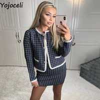 Yojoceli Elegant plaid knitted skirt suit Autumn winter sexy casual women suits with Cool button tweed coats female 210609