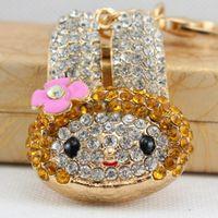 Hairpin Flower Rabbit Head Key Chain Car Pendant Metal Diamond Bag 10 Yuan Shop