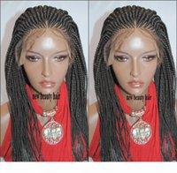 180Densidade feitos à mão cornrow peruca África Americana Mulheres Caixa de Estilo Caixa de Trança Peruca Crochet Tranças Rendas Rendas Peruca Com Cabelo Do Bebê