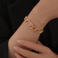 Link, Chain NEULRY Personality Hip-hop Fashion Butterfly Bracelet With Pink Diamonds