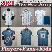 Argentinien Fussball Trikot 20 21 Copa Home Away Football Hemd 2021 Messi Dybala Aguero Lo Celso Martinez TagliFico Fsan Player Version Kinder Kit Uniformen